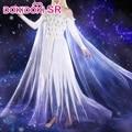 Платье Эльзы для косплея из фильма DokiDoki-SR, белое платье принцессы Sprit, костюм Эльзы в стиле стрит, длинные светлые волосы для косплея