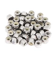 50pcs 1/4-20 Inch Nylon Inserted Self Locking Nuts 304 Stainless Steel