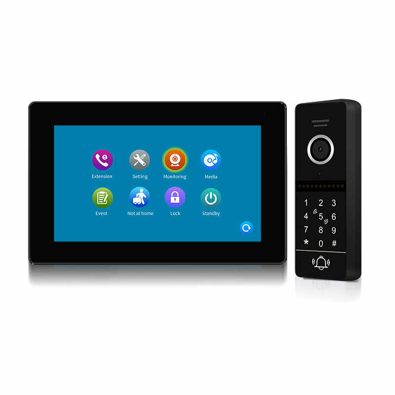 "Wired 7"" Record Screen 1080P IR Video intercom Door Phone RFID Code Keypad Unlock Doorbell Support 128GB SD card Free Shipping"