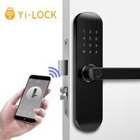 Yi LOCK smart security biometric electronic fingerprint/rfid/key/password/app remote door lock with 5052 mortise
