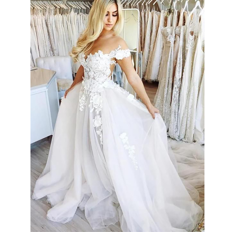 Verngo A Line Wedding Dress  Lace Up Wedding Gowns Off The Shoulder Bride Dress Boho Wedding Dress Vestido De Noiva