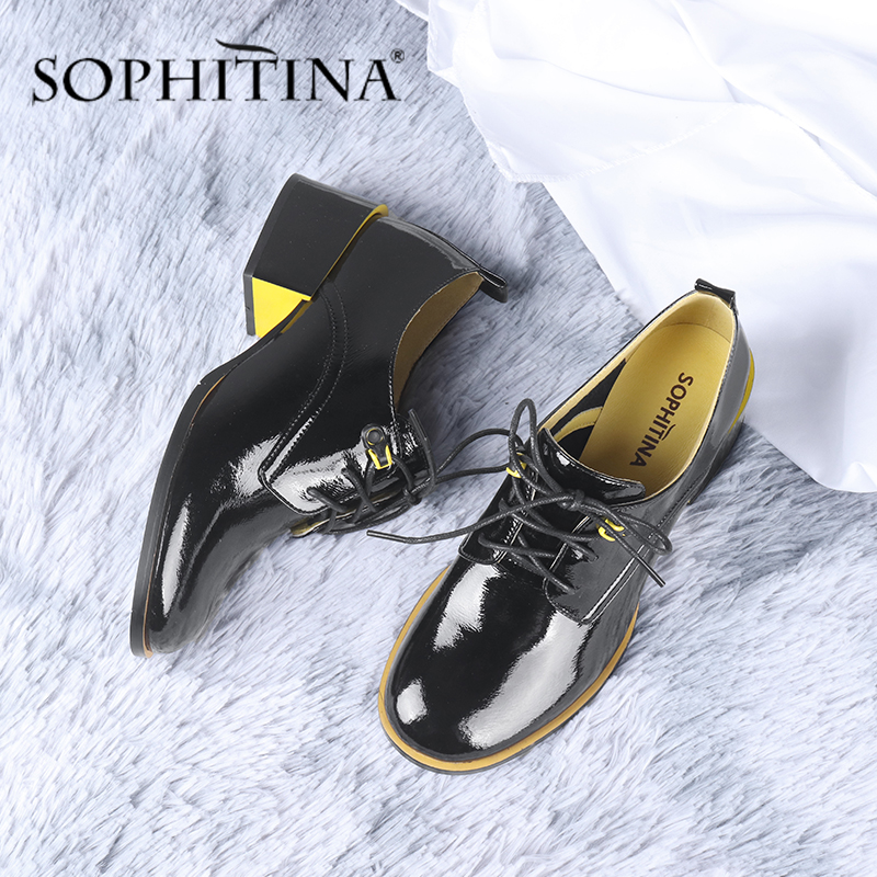 SOPHITINA Office Women's Pumps Fashion Contrast Color Lace-Up High Quality Cow Leather Square Heel Shoes Comfortable Pumps SC663