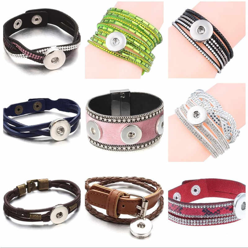 6 Colors Fashion Multilayer Rhinestone Wrap Leather Bracelet Crystal Xinnver 18mm Snaps Button Bracelets&Bangles For Women ZE201