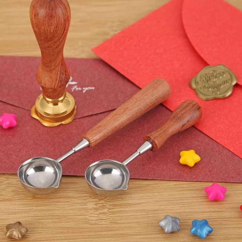 Dropshipping anti-sıcak sızdırmazlık balmumu kaşık ahşap saplı Retro balmumu damgalama kaşık davetiye kartları dekoratif pullar Craft