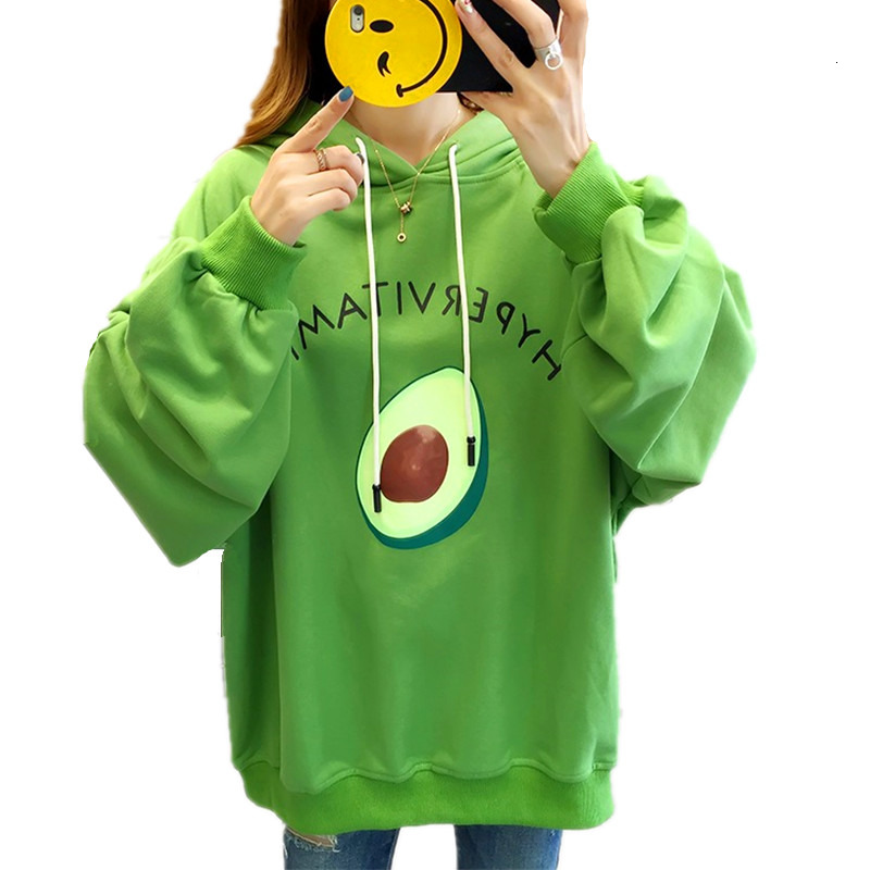 Harajuku Oversized Pullover Hoodies Loose Sweatshirt Kawaii Cartoon Avocado Printed Puff Sleeves Women Outwear Top Plus Size 2XL