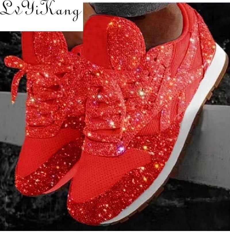 Plus rozmiar 35-44 kobiet przypadkowi buty luksusowe buty moda oddychająca platforma dla kobiet czarny oddychający Mesh Glitter Sneakers nowy