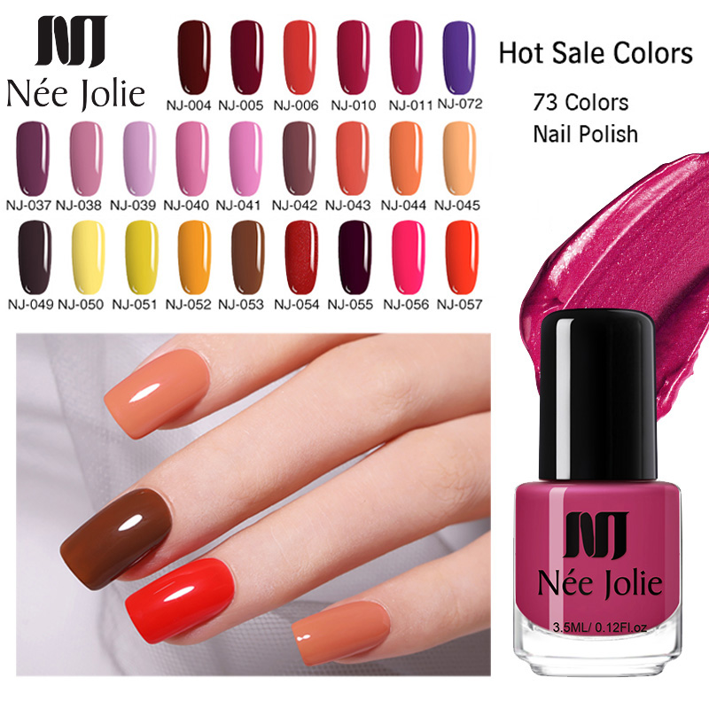 NEE JOLIE 73 Colors Solid Color Nail Art Polish Varnish Long Lasting  Nail Art Decoration DIY Designs Nail Polish 3.5ML