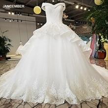 LS32874 ปิดไหล่สีขาว sweetheart งานแต่งงานชุดยาวชั้นกระโปรงแขนหมวก crystas ลูกปัด 2018 ชุดแต่งงานใหม่