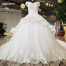 LS32874 vestidos de novia fuera del hombro de capas largas blancas falda mangas casquillo cristales de lujo vestido de novia 2018