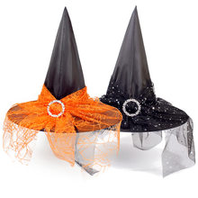 Halloween decoration props witch hat adult children cosplay witch headdress polyester taffeta ribbon yarn headdress dress up(China)