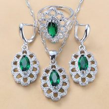 11.11 Exclusive Green CZ Big Jewelry Sets 925 Sterling Silver Trendy Costume Dangle Earring Necklace And Ring Sets For Women(China)