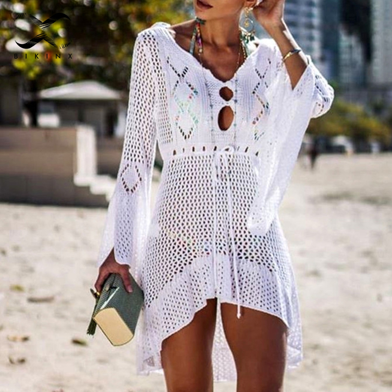 White knitted beach wear Crochet bikinis 2019 Mujer beach sarong de plage Sexy keyhole cover-ups Gossamer beach wear one-piece