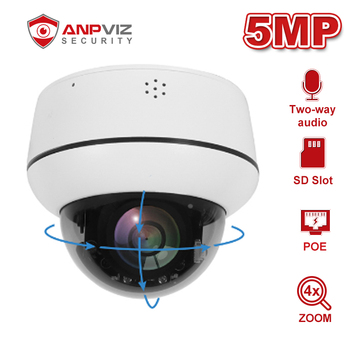 Anpviz 5MP/2MP PTZ POE IP Camera Dome 4X Optical Zoom Outdoor Security Cam Two-Way Audio IP66 IR 30m H.265 Onvif