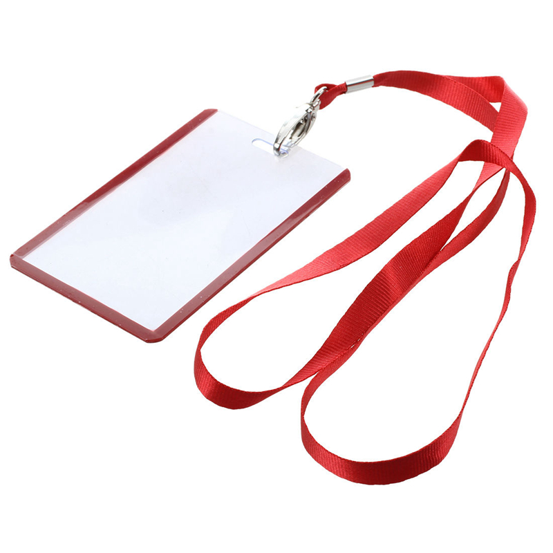 2 Pcs School Office Red Lanyard Vertical B8 ID Name Badge Card Holders