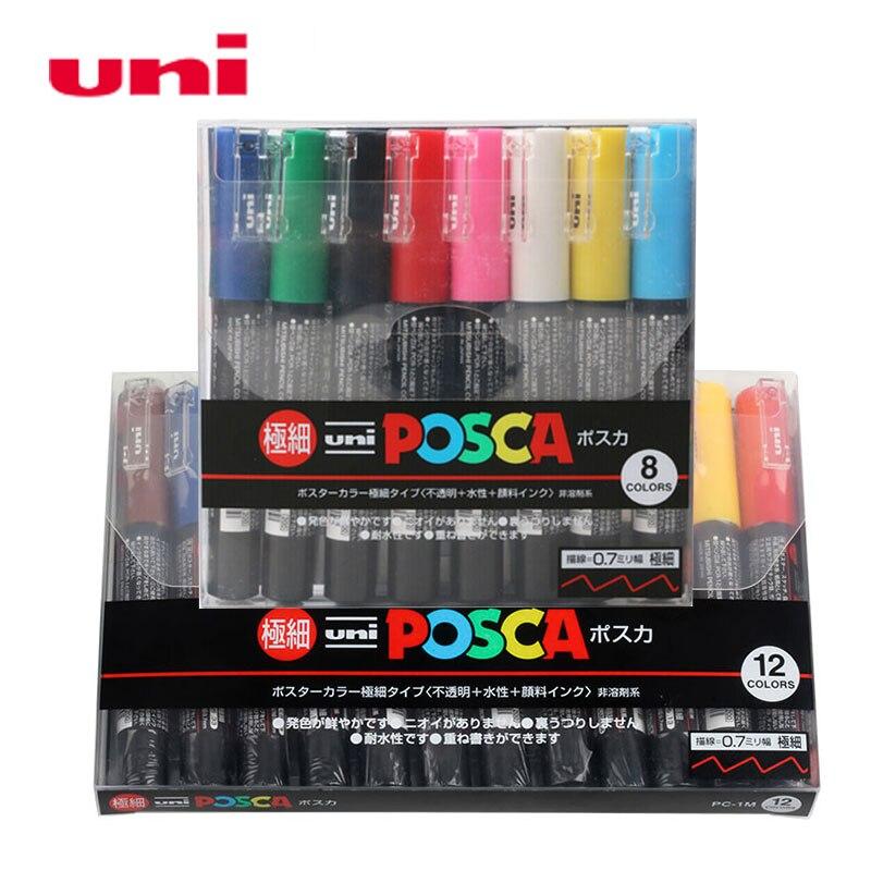 Где купить UNI Posca маркеры, PC-1M, 8/12 цветов, набор художественных маркеров, поп-постер, водная реклама, граффити, ручка для школы, 0,7 мм