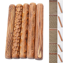 DIY Wooden Clay Roller 5 Styles of Clay Sculpting Tools Fish Leaf Wave Pattern Wood Embossing Stick Ceramics Polymer Clay Tools feet of clay