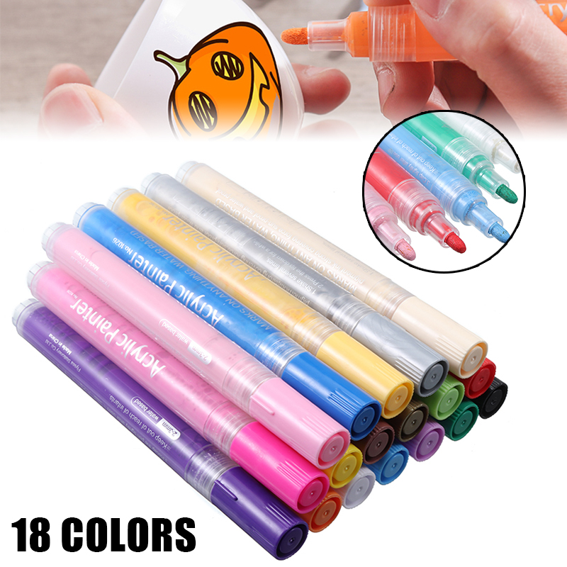 18 Colors Acrylic Marker Pens Set Permanent Paint Waterproof For Wood Stones Fast-drying Painting Markers