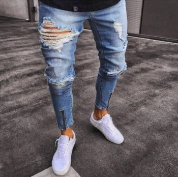 Men's Jeans Slim Fit Ripped Jeans Men Streetwear Distressed Cool  Denim Joggers Knee Holes Washed Destroyed Pants with Zipper knee holes frayed zipper fly narrow feet ripped jeans