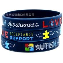2019 Autism Awareness Bracelets Autism Medical Alert Silicone Sports Bangles Fluorescent Rubber Fitness Wristband Bracelet все цены