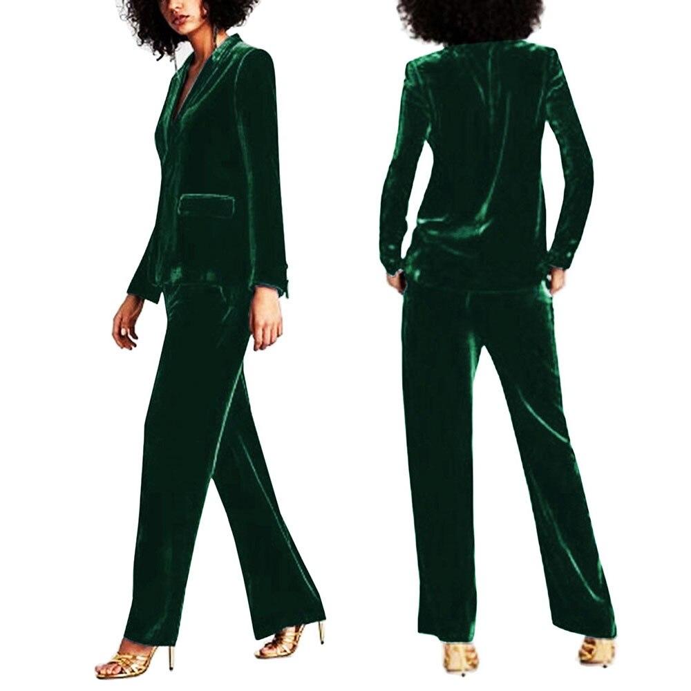 SEBOWEL Women's Dark Green Velvet Blazer Jacket Elegant Ladies Coat Female Slim Casual Lapel Office Business Blazers S-XXL