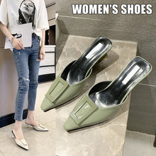 Shoes Woman 2019 Fashion Pointed Toe Women High Heel Slippers Thick Heel PU Leather Female Casual Shoes Zapatos Mujer(China)