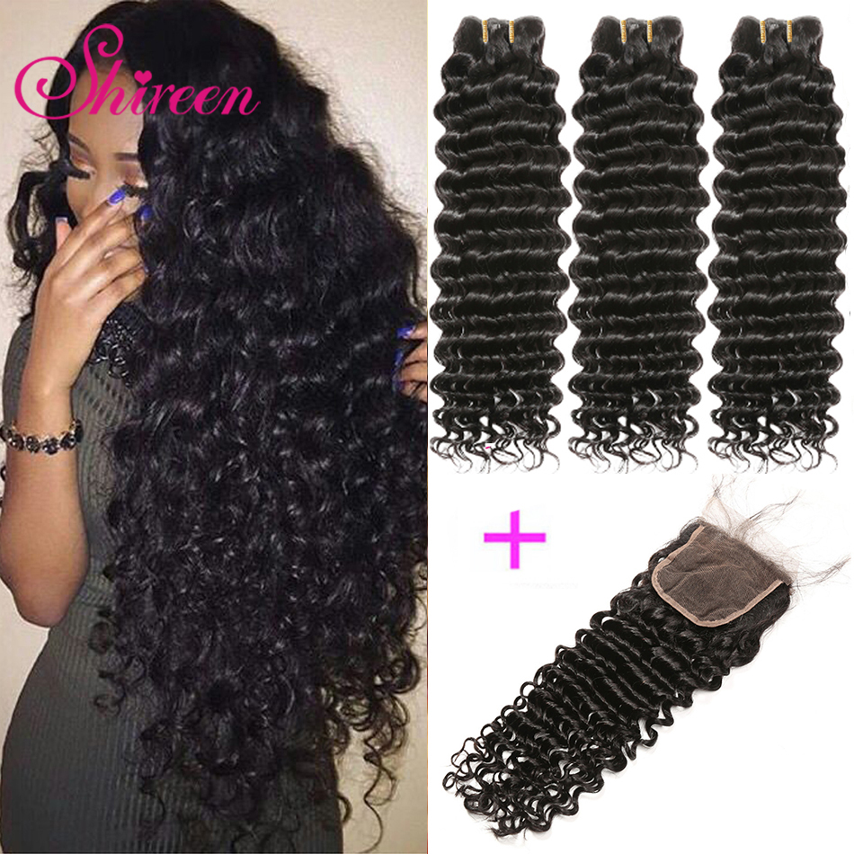 Brazilian Deep Wave Bundles With Closure 4*4 Freepart Human Hair Extensions Brazillian Hair Weave Bundles With Closure Remy Hair-in 3/4 Bundles with Closure from Hair Extensions & Wigs