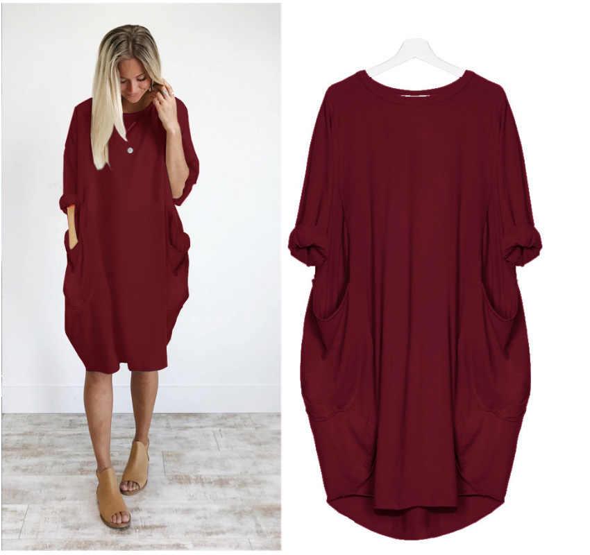 De talla grande 5XL nuevo vestido De mujer cuello redondo De manga larga vestido De otoño Vintage suelto Casual Vestidos De fiesta con bolsillos Vestidos De Verano