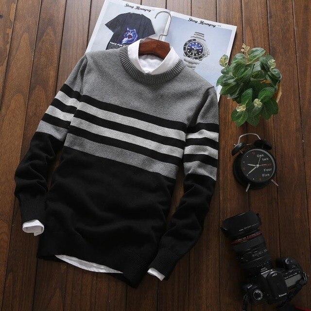 Мужской трикотажный свитер в офисном стиле на каждый день 6