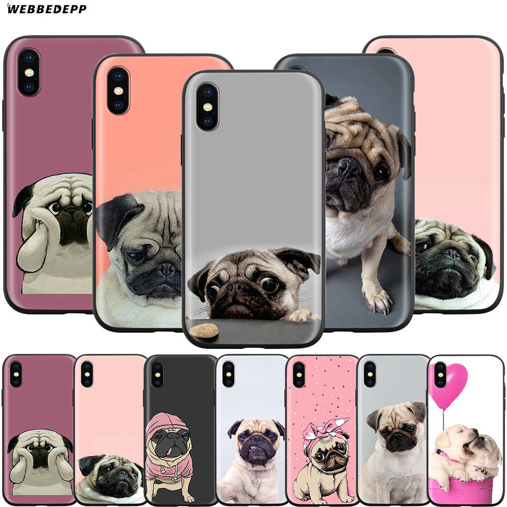 Webbedepp animal bonito pug cão caso para apple iphone 11 pro xs max xr x 8 7 6s mais 5 5S se