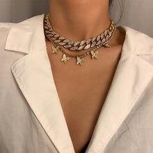 Кулон Стразы в виде бабочки женский классическое ожерелье с