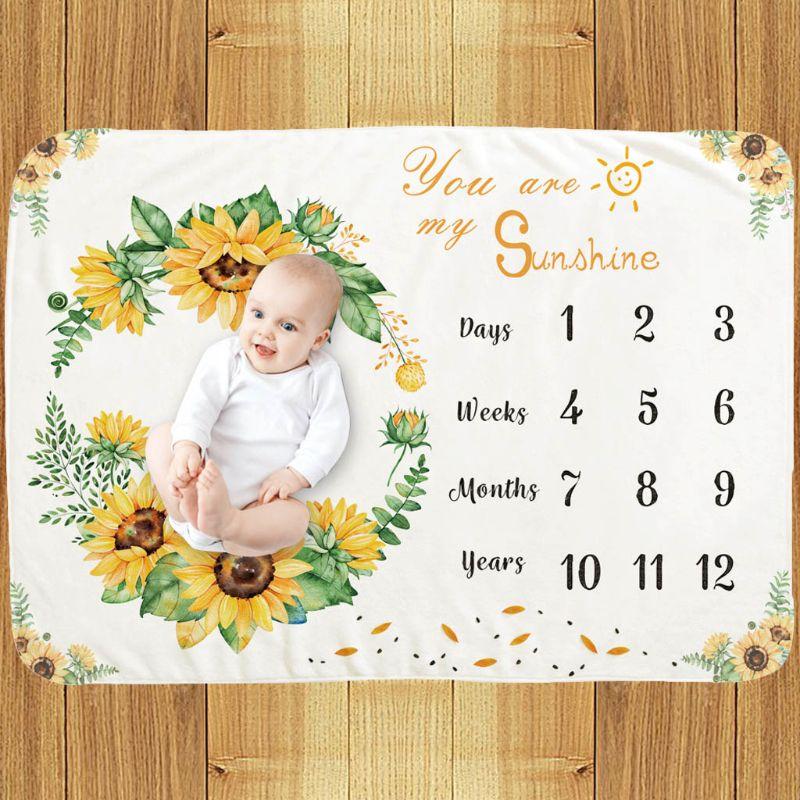 Newborns Photography Blanket Baby Monthly Milestone Blanket Photo Drops Gifts XXFE
