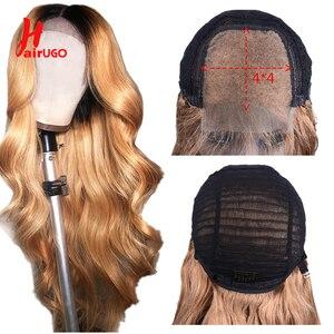 Омбре 4x4 кружева Закрытие человеческих волос парик для женщин Remy перуанские волосы блонд тела волна парик с волосами младенца предваритель...