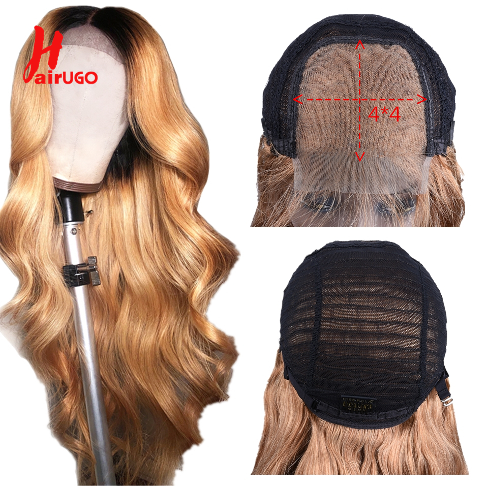 HairUGo Ombre 4x4 Lace Closure Human Hair Lace Wig Non-Remy Peruvian Hair Body Wave Wig With Baby Hair Pre Plucked 150% Density