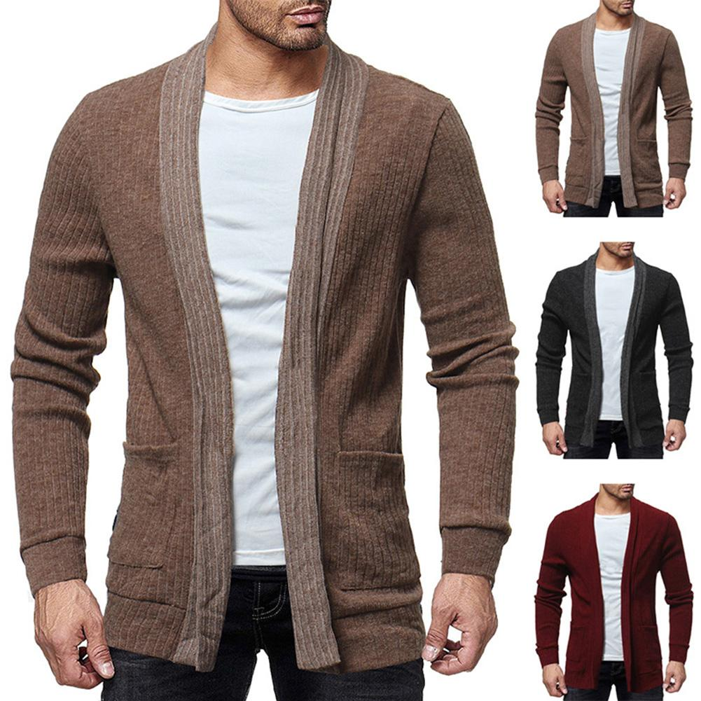 Fall Fashion Men Color Block Long Sleeve Casual Cardigan Coat Outwear Cotton Open Stitch Slim warm Innrech Market.com