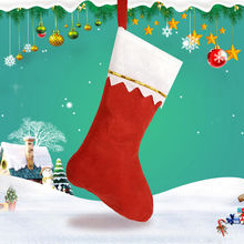 1pcs Christmas Home Hotel Decorations Tree Pendant Ornaments Red Plush Non Woven Socks Gift Holders(China)