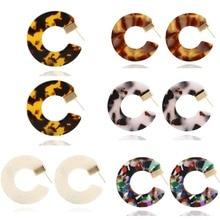 New Fashion Vintage Leopard Print Earring Bohemian Ethnic Acrylic Acetate Aros Earrings Big Circle Pendant Jewelry Gift