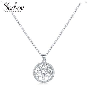 Sodrov Authentic 925 Sterling Silver DIY Life Tree Necklace Ladies Nature Lucky Jewelry Pendant Link Charm kamaf 100% authentic 925 sterling silver heart shaped charm beaded bracelet diy necklace pendant