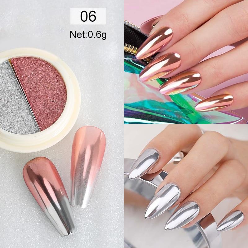 Rose Gold Bubble Mirror Powder Metallic Nail Glitter Holographics Chrome Dust Sparkling Flakes Pigment Manicur Nail Art Decor 22