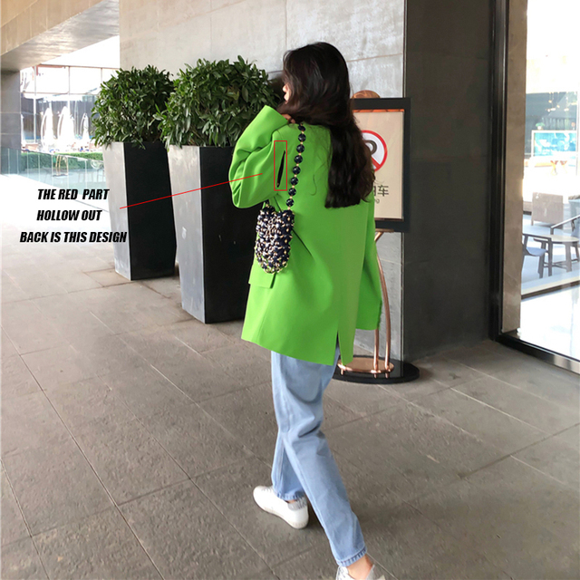 [EAM]  Women Green Split Joint Big Size Blazer New Lapel Long Sleeve Loose Fit  Jacket Fashion Tide Spring Autumn 2021 1DA452 6