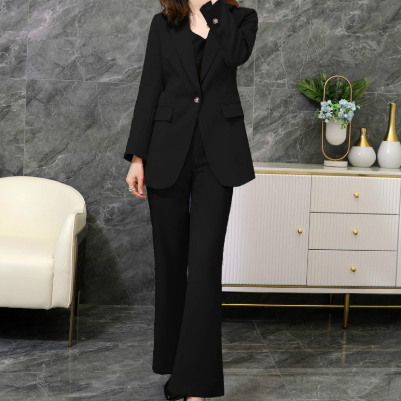 Large size women's suit M-5XL Autumn and winter high quality fashion office female pants suit two-piece Elegant flared pants