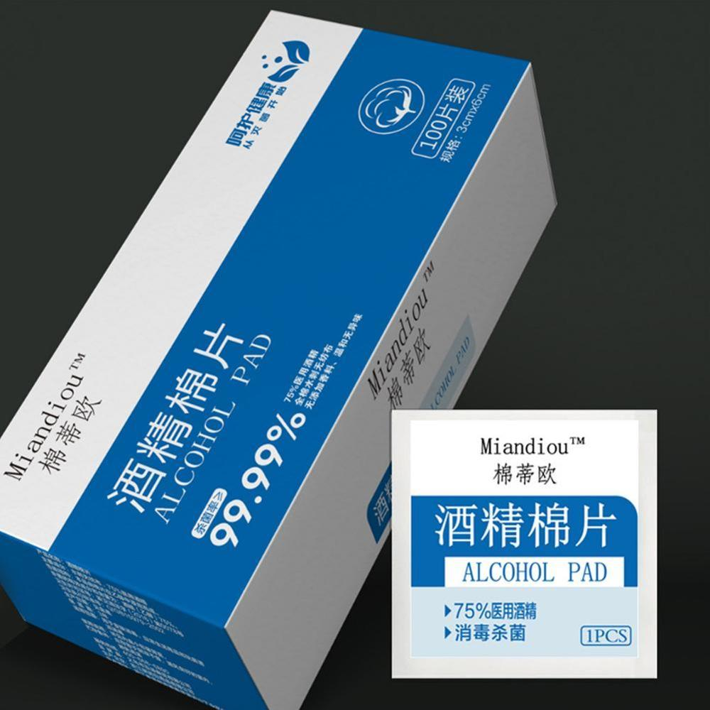 100 Pcs/ Box Of Alcohol Tablets Outdoor First Aid Disinfection Wipes Antiseptic Clean Home Disinfection