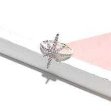 Fashion S925 Sterling Silver Ring Micro-inlaid Zircon Opening Ring Personality Rice Shape Star Ring for Women Jwelry цена в Москве и Питере
