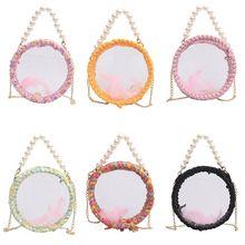 Women Fashion Personalized Round Shape Shoulder Bag Beads Decor Transparent Crossbody beads decor crossbody bag round shape metallic twist lock crossbody bag