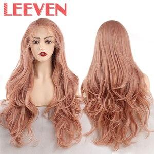 Image 2 - Leeven peluca con malla frontal rojo cobrizo largo ondulado, sintética, 24 pulgadas, rosa, naranja, morado, pelucas con minimechones, peluca de jengibre rubio 613