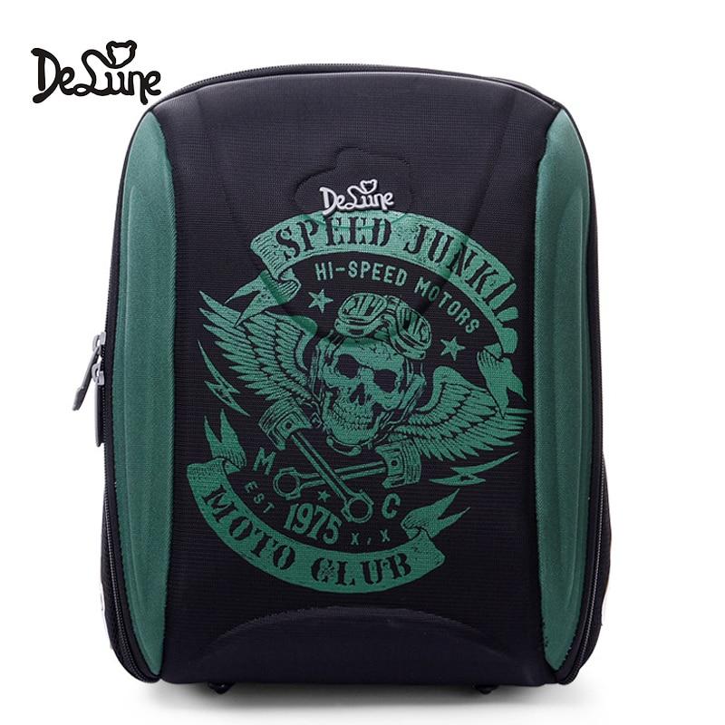 Delune Motorcycle Design Backpack Children School Bags For Boys Girls Orthopedic Schoolbag Backpacks mochila escolar Grade 1 5-in School Bags from Luggage & Bags    1