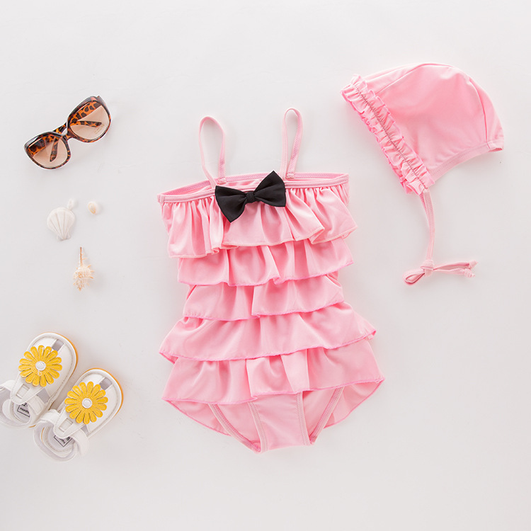 Girl'S One-piece Swimming Suit Pink Layers Bow With Hat-Children Hot Springs Bathing Suit