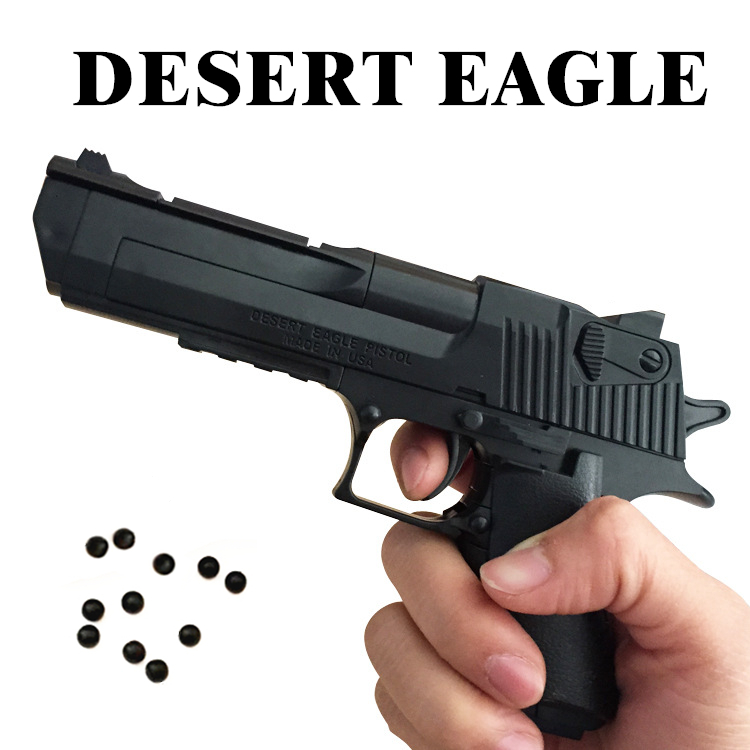 Creative DIY Building Blocks Toy Gun Desert Eagle Assembly Toy Puzzle Brain Game Model Can Fire Bullets(Mung Bean) With Instruct