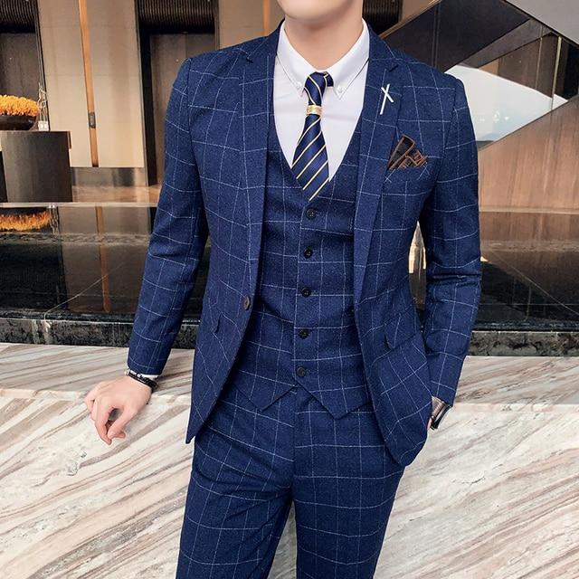 ( Jacket + Vest + Pants ) Boutique Fashion Mens Plaid Casual Business Suit High-end Social Formal Suit 3 Pcs Set Groom Wedding 5