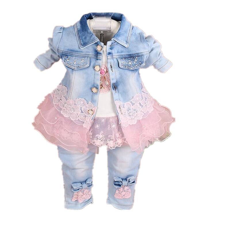 فتاة الملابس مجموعات 2020 ربيع الخريف موضة الدنيم طفل أطقم ملابس للفتيات الأطفال ملابس فتاة عيد ميلاد الاطفال مجموعة ملابس الطفل