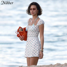 Nibber summer boho Floral pattern Beach casual holiday dresses women simple leisure streetwear ladies white mini Pleated dress